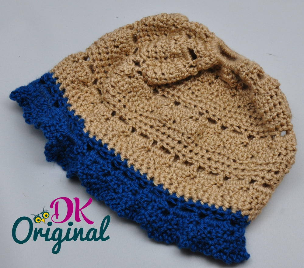 Fashionable Beige & Teal hand-crocheted Messy Bun hat