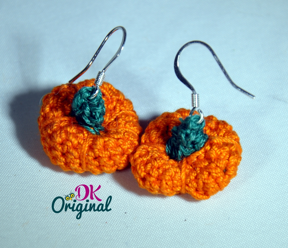 handmade crocheted pumpkin earrings with sterling silver hooks